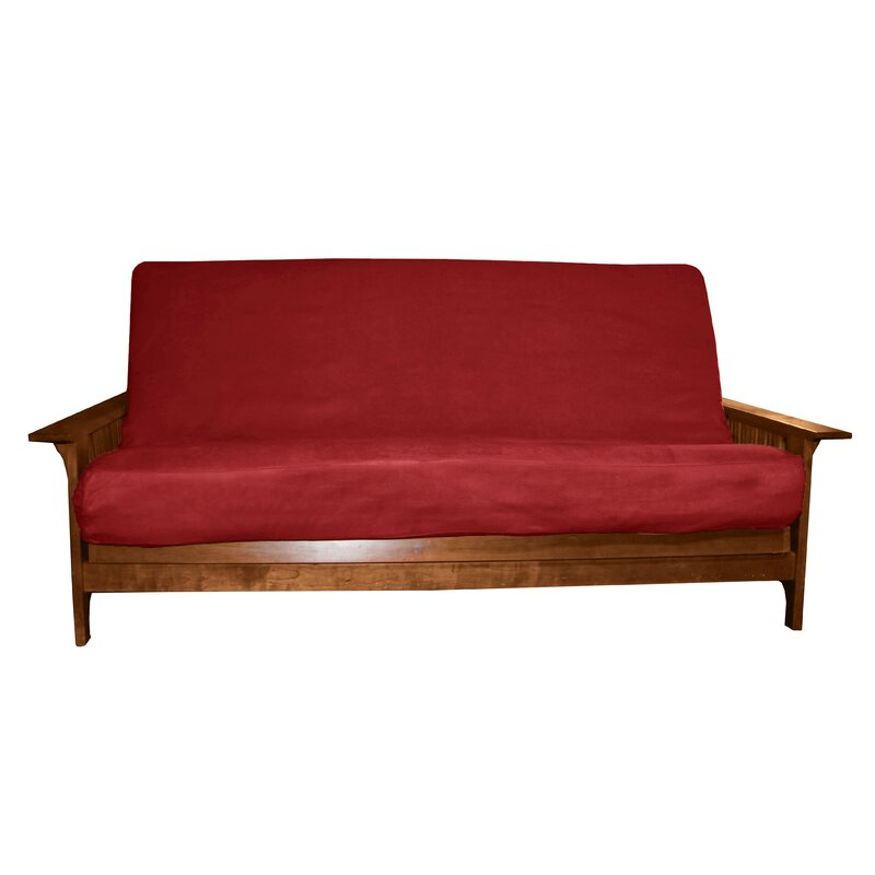 "Box Cushion Futon Slipcover Size: Full, Futon Mattress Thickness: 8"" - 10"", Upholstery: Suede Cardinal Red"