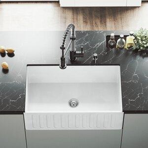 30 x 18 Farmhouse Kitchen Sink with Basket Strainer