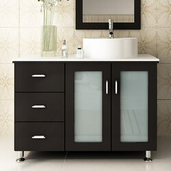 "Bathroom Vanity Modern jwh living lune 39"" single vessel modern bathroom vanity set"