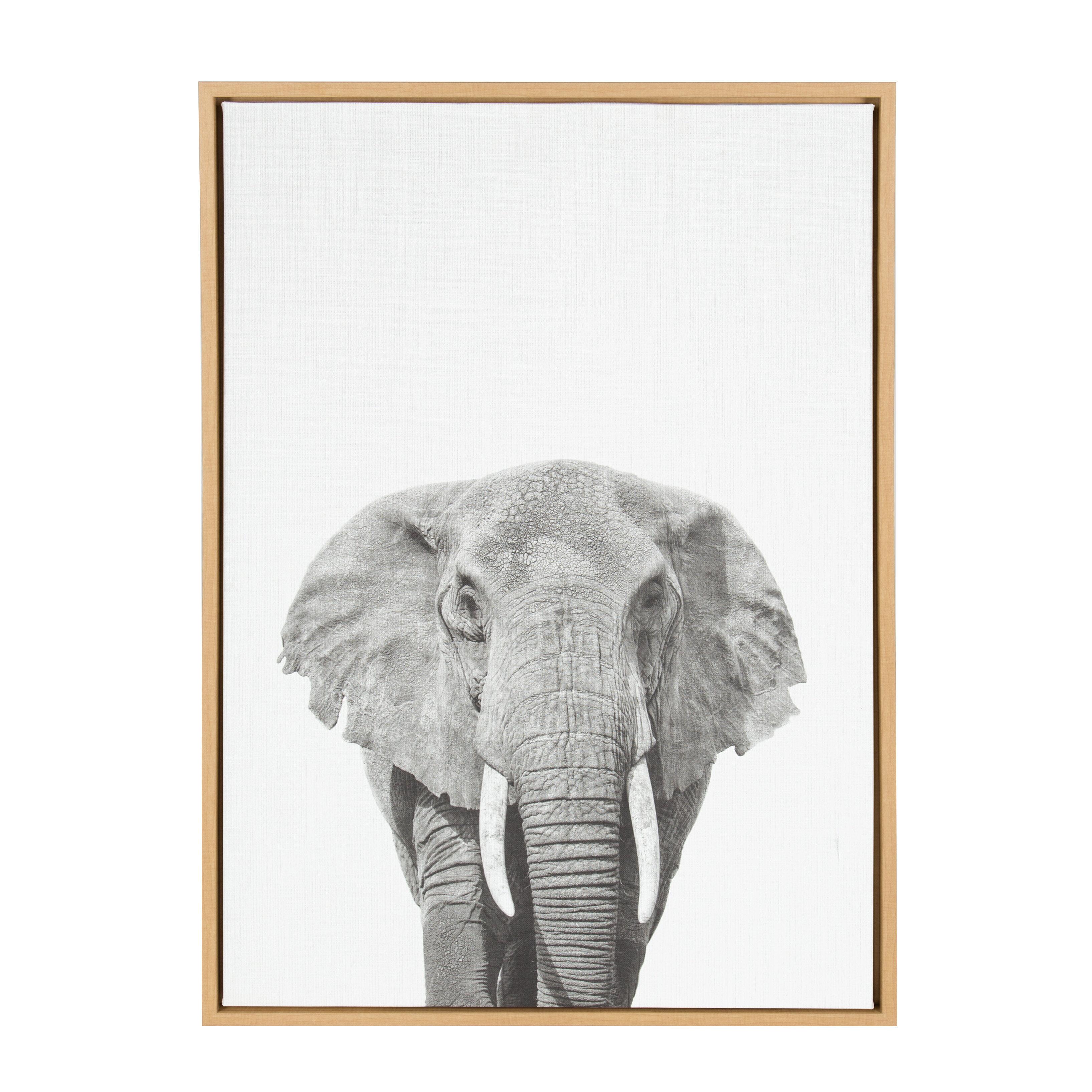 Ivy Bronx \'Elephant Black And White Animal\' Framed Photographic ...