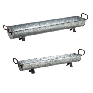 Whitton Galvanized 2 Piece Metal Trough Set