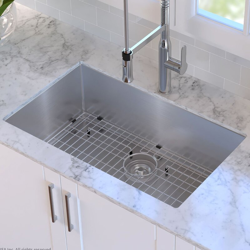 Undermount Kitchen Sink With Sink Grid And Drain Assembly