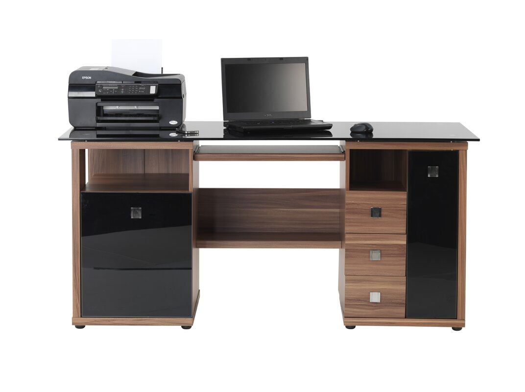home etc maxam computer desk with keyboard tray with 3 drawer reviews. Black Bedroom Furniture Sets. Home Design Ideas