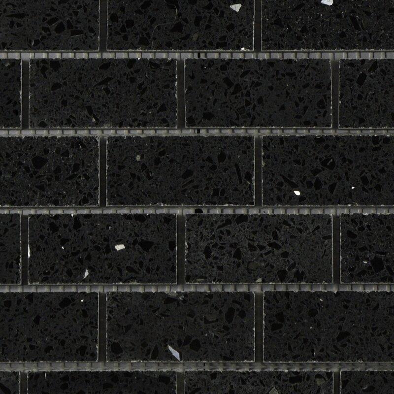 Byzantin Mosaic Quartz Engineered Stone Tile In Black Wayfair