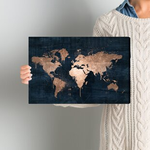 mapamundi copper painting print on wrapped canvas