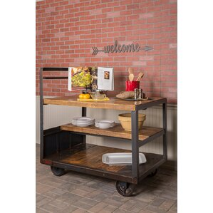 Jambusaria Vintage Factory Wood Kitchen Cart by 17 Stories