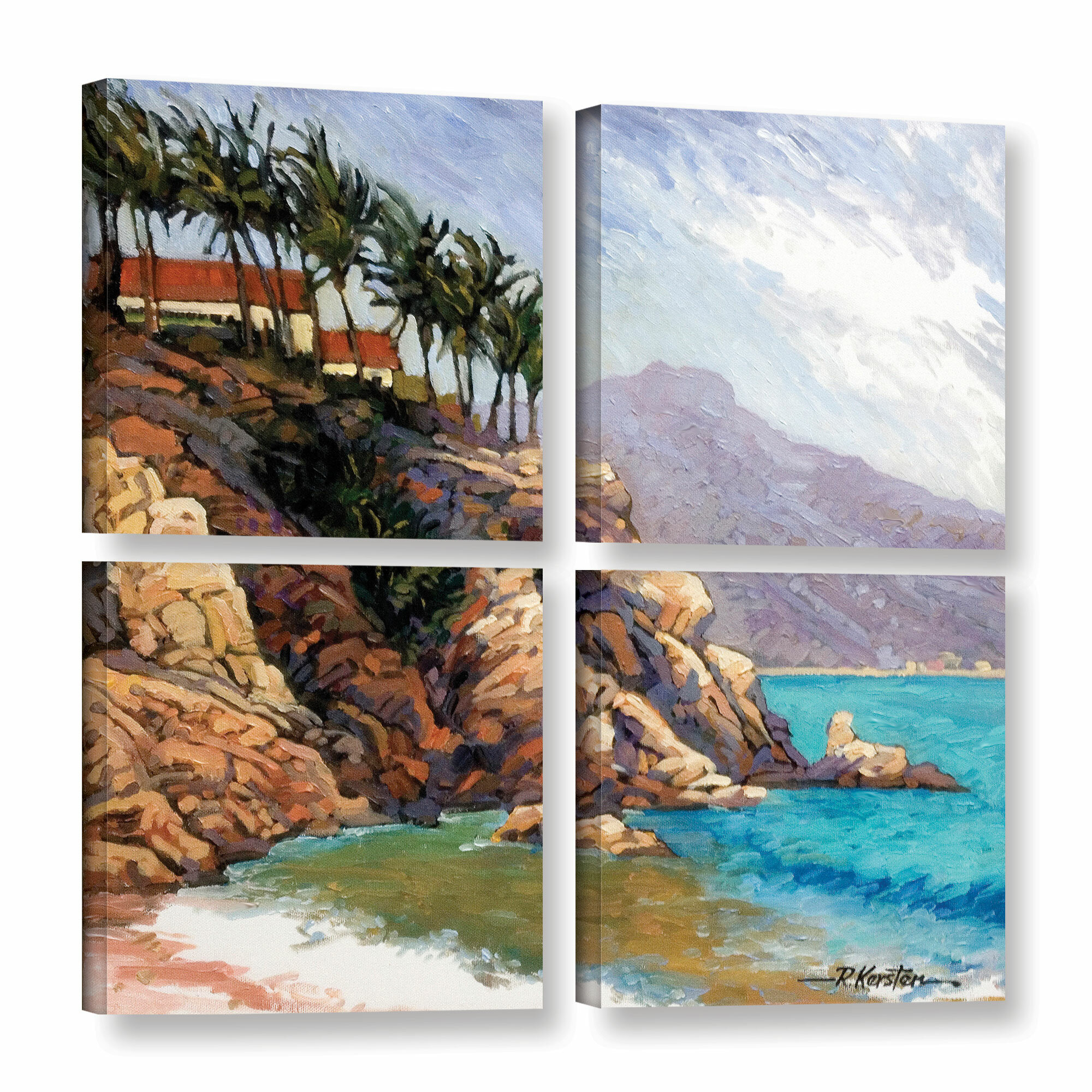 ArtWall Cabo San Lucas By Rick Kersten 4 Piece Painting Print On Wrapped Canvas Square Set
