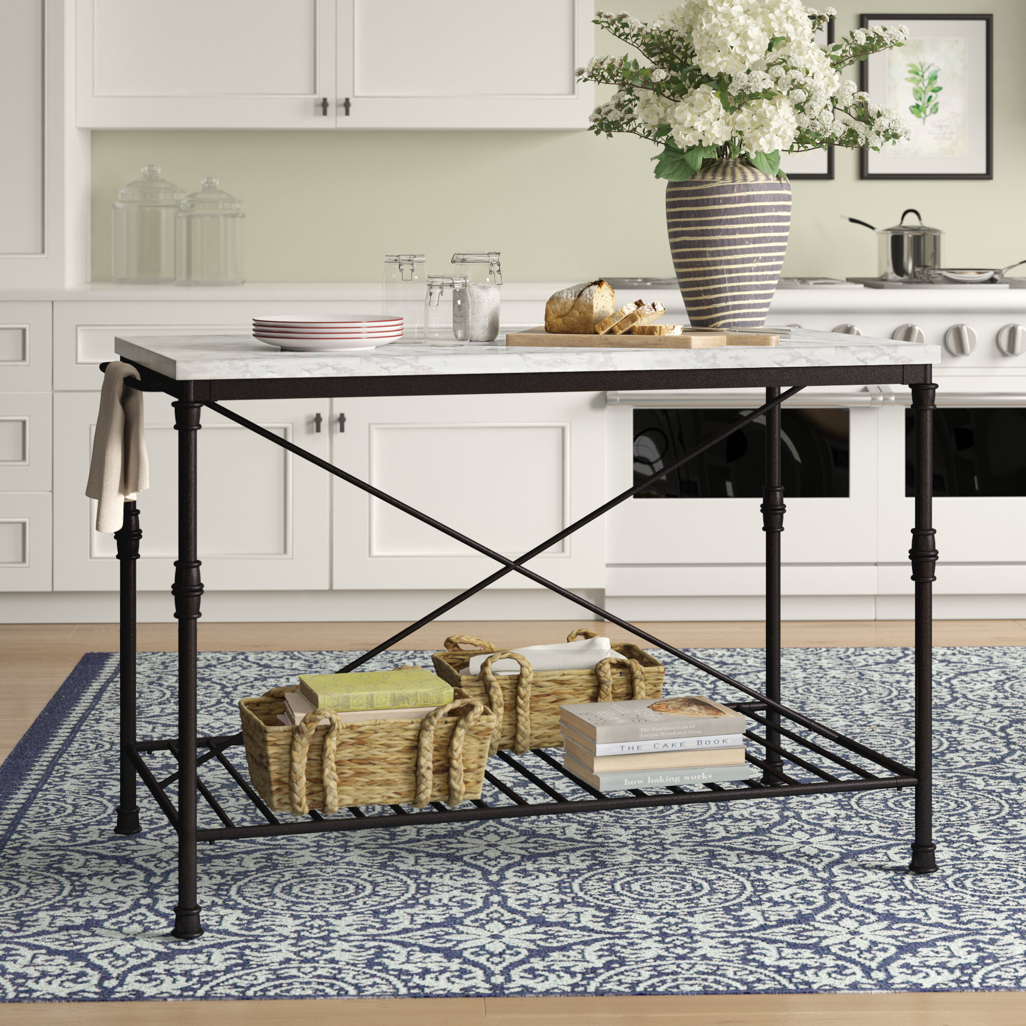 Birch Lane Heritage Castille Prep Table With Marble Top Reviews