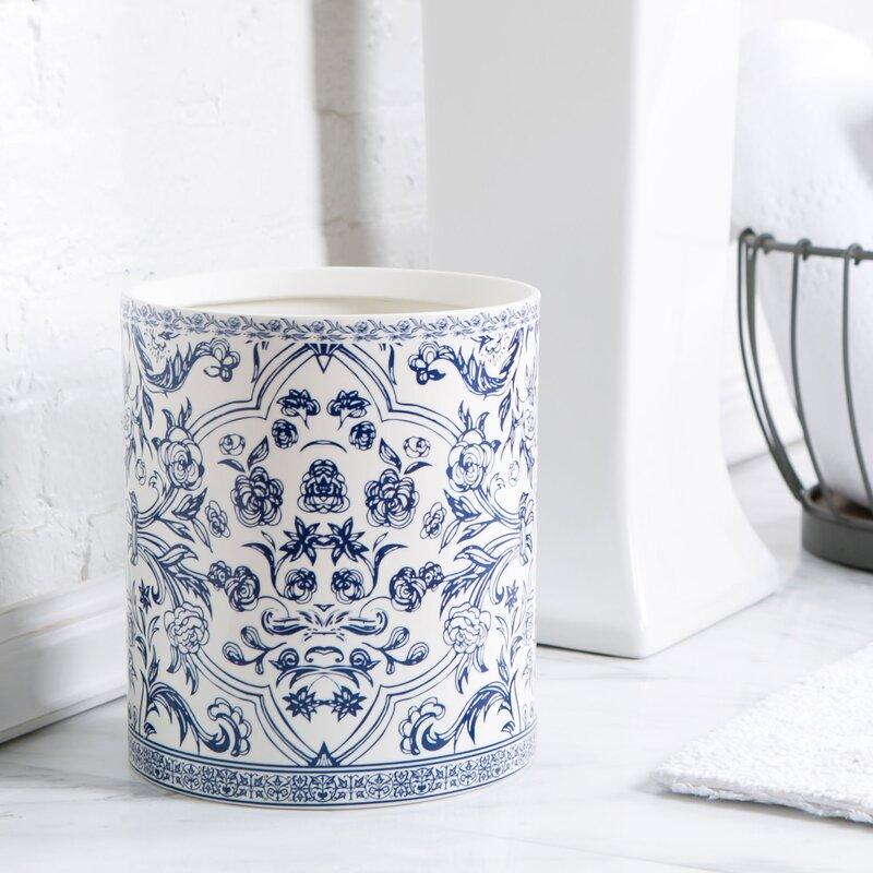 Birch Lane™ Porcelain Bathroom Accessories,Blue & White Waste Basket ...