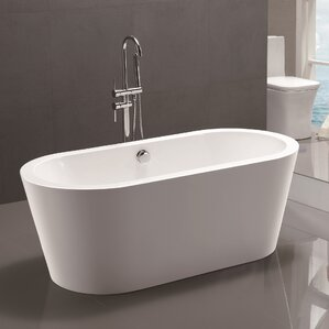 fiberglass freestanding tub with wall mount faucet. 59  x 29 5 Freestanding Soaking Bathtub Tubs