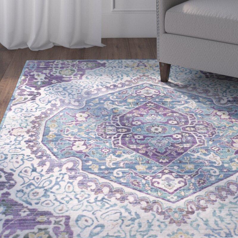 Mistana Fields Bright Purple Pale Blue Area Rug Reviews Wayfair