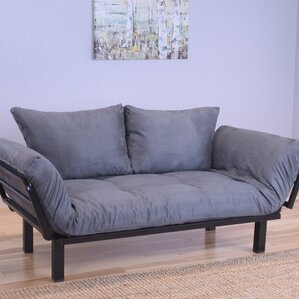 Everett Black Convertible Lounger Futon and Mattress by Ebern Designs