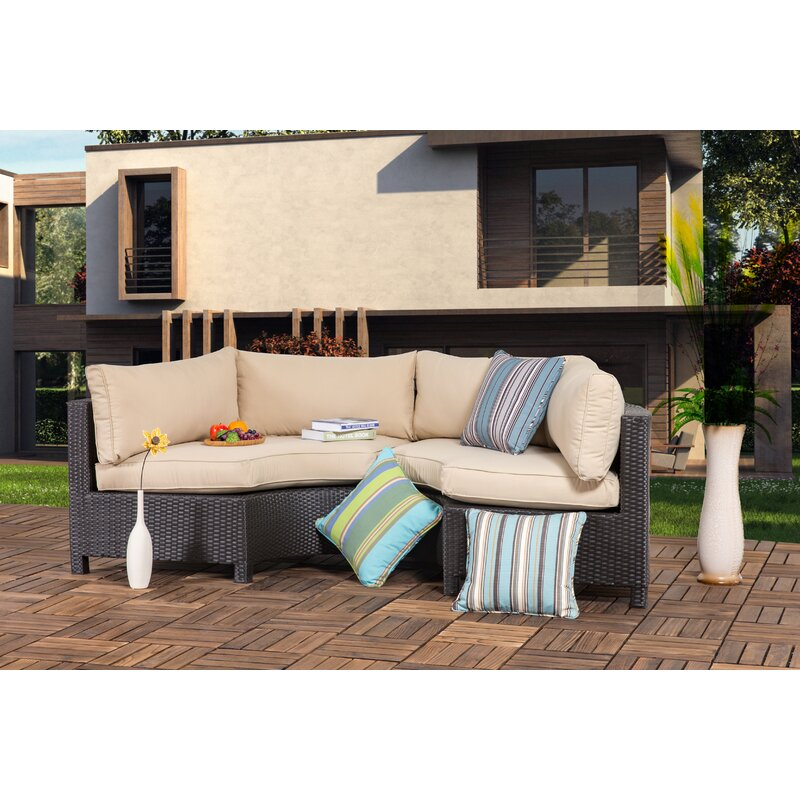 Gracie Oaks Zaina Outdoor 2 Pieces Curved Sofa Seating Group With Cushions Wayfair