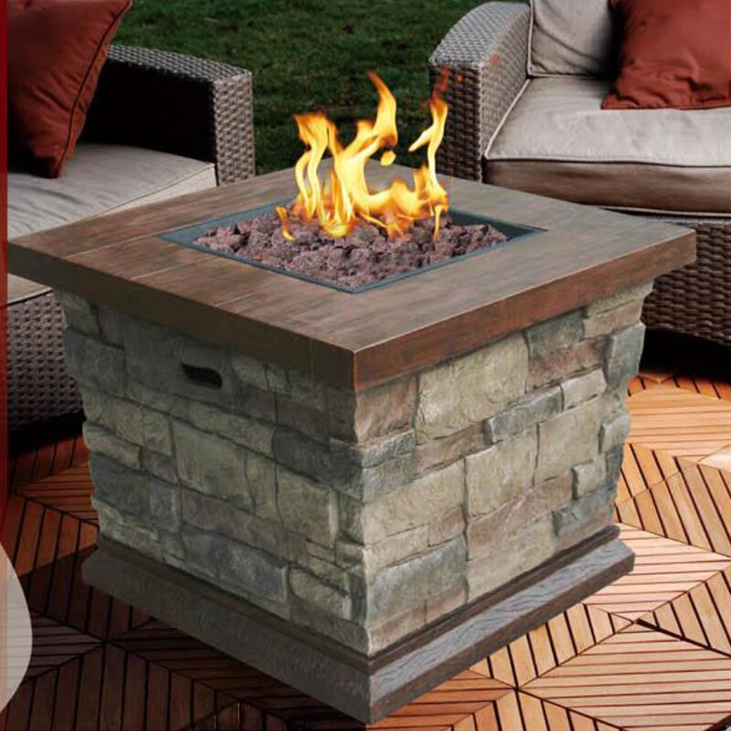 Modern Home Faux Stone Propane Fire Pit Table