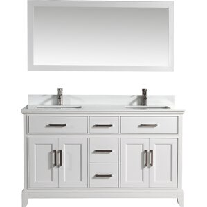 bathroom vanity with sink and mirror. 60  Double Bathroom Vanity Set with Mirror Modern Vanities Cabinets AllModern