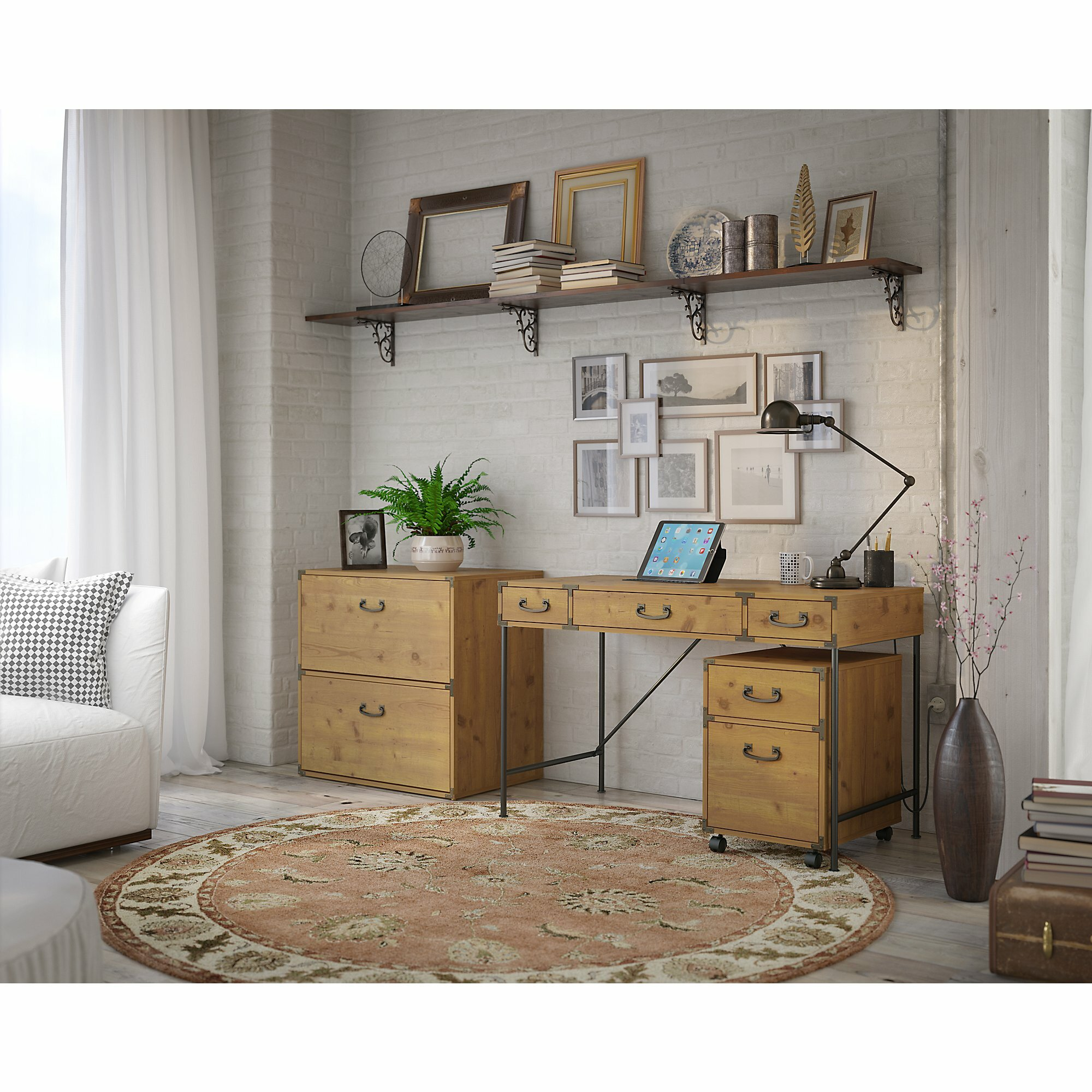 Kathy Ireland Office by Bush Ironworks 3 Piece Desk Office Suite ...