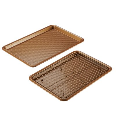 Non-Stick Bakeware Cookie Baking Sheet Set Ayesha Curry Color: Copper