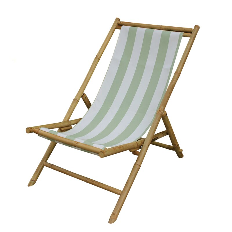 Charmant Danville Folding Bamboo Relax Sling Beach Chair