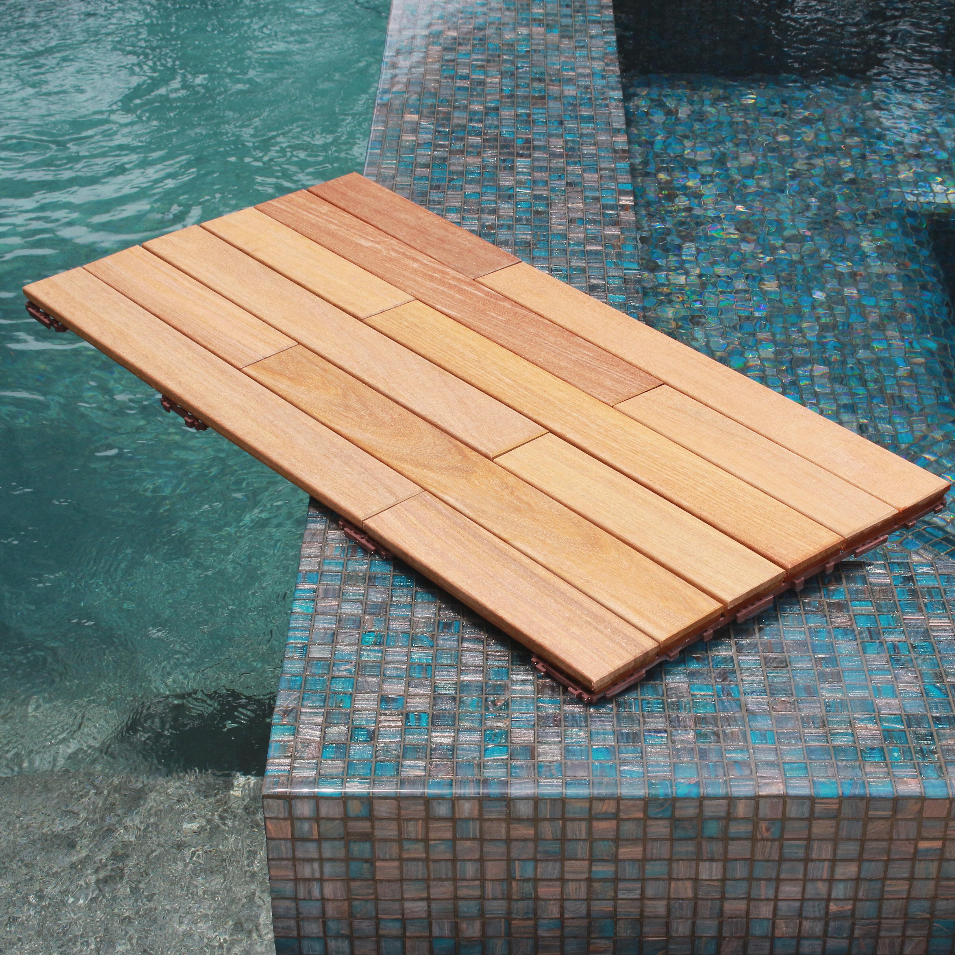 Flexdeck 36 X 18 Wood Interlocking Deck Plank In Natural Reviews Wayfair
