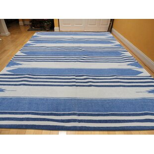One-of-a-Kind Bessey Reversible Oversize Handmade Kilim 5' x 6'10 Cotton Blue/White Area Rug Isabelline