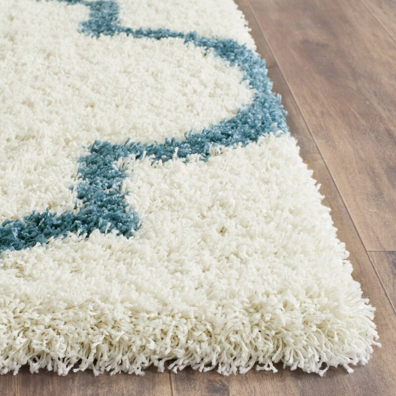 Kids Off-White And Teal Shag Area Rug & Reviews