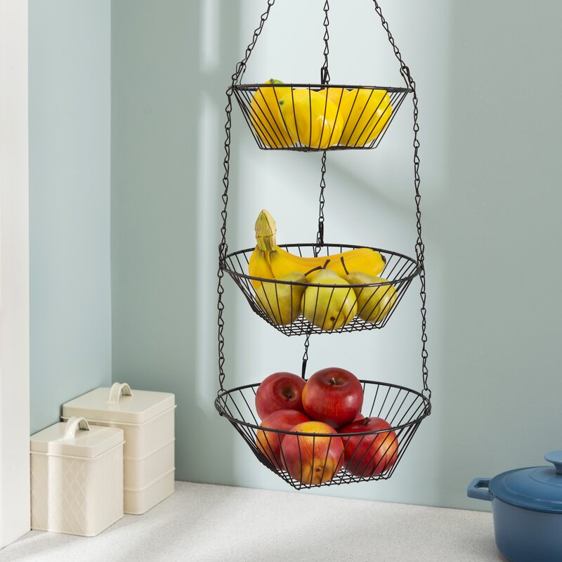 Home Basics 3-Tier Wire Hanging Fruit Basket   Wayfair