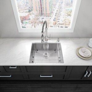 VIGO 23 inch Undermount Single Bowl 16 Gauge Stainless Steel Kitchen Sink