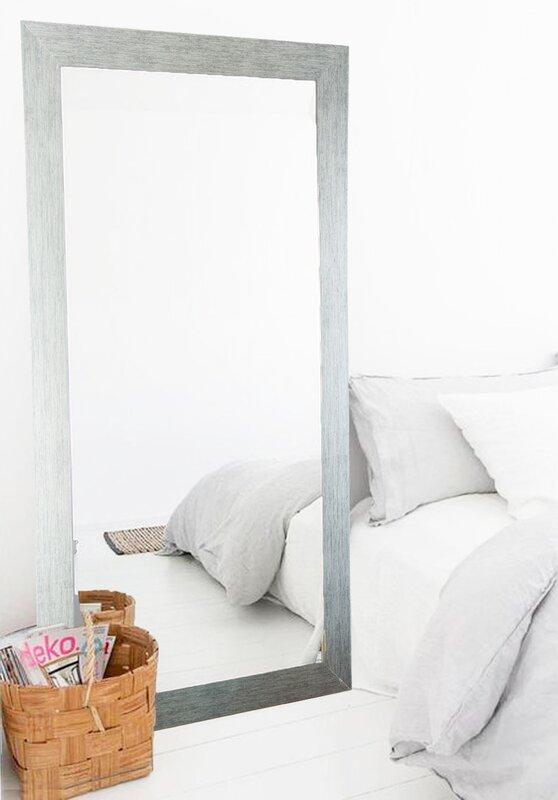 Adrien Stainless Grain Silver Floor Mirror