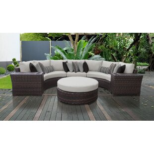 Kathy Ireland Homes Gardens River Brook 6 Piece Outdoor Wicker Patio Furniture Set 06c