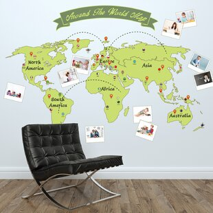 Around the World Map Wall Decal & Large World Map Wall Decal | Wayfair