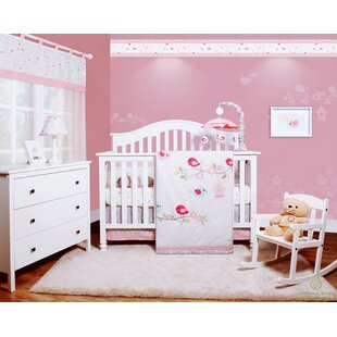 Donaway Happy Enchanted Birds 6 Piece Baby Girl Nursery Crib Bedding Set Set Of 6