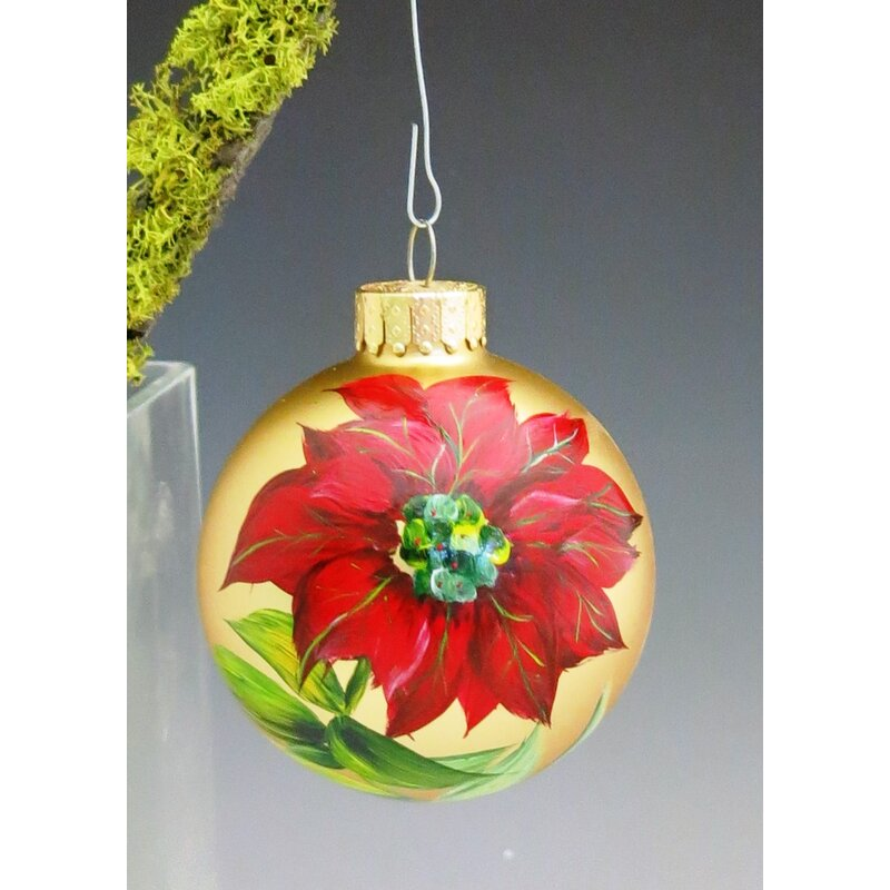 red poinsettia hand painted glass ball ornament
