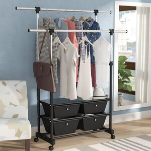 54 W Double Rod Garment Rack