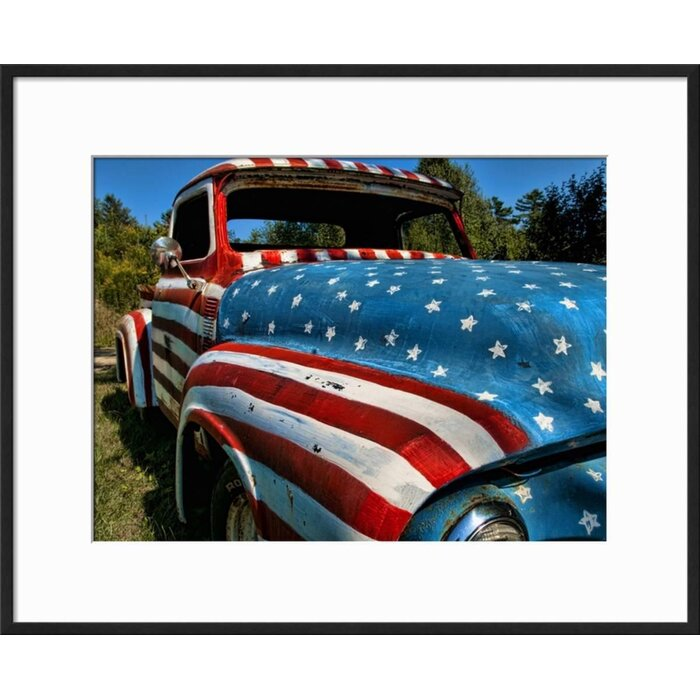 Ebern Designs \'Old Ford Truck Painted with American Flag Pattern ...