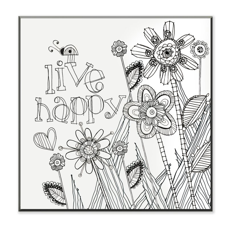 DIY Coloring Wall Plaque Live Happy Painting Print