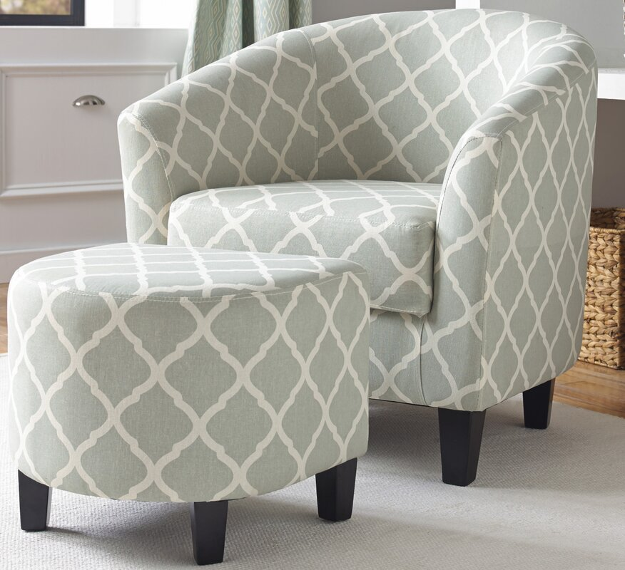 2 Piece Upholstered Barrel Chair And Ottoman Set Amp Reviews