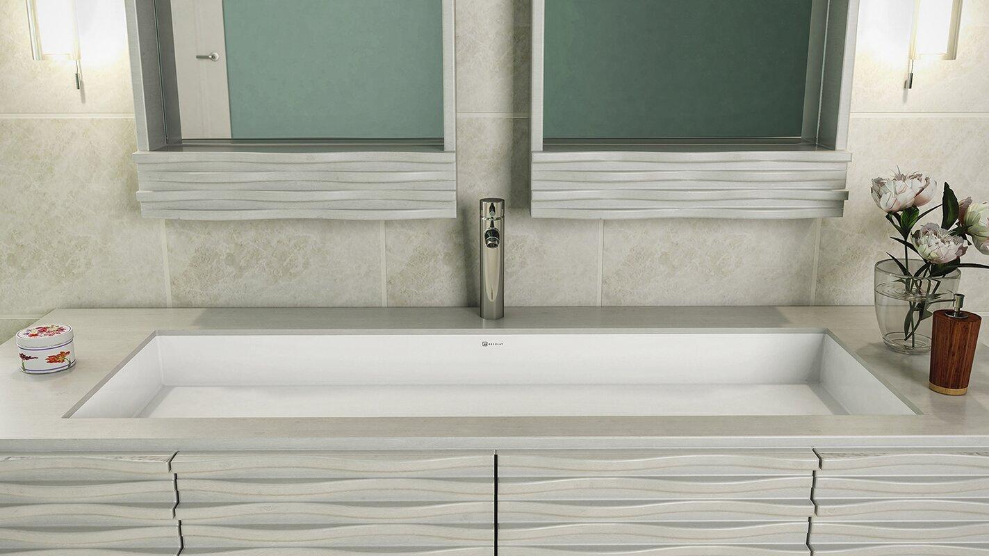 Sacha Solid Surface Plastic Rectangular Undermount Bathroom Sink with  Overflow