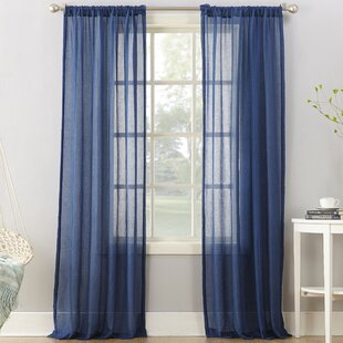 Leland Solid Semi Sheer Rod Pocket Single Curtain Panel