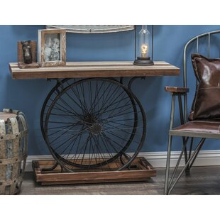 Metal Wood Wheel Console Table