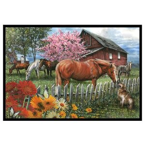 Horses Chatting with the Neighbors Doormat