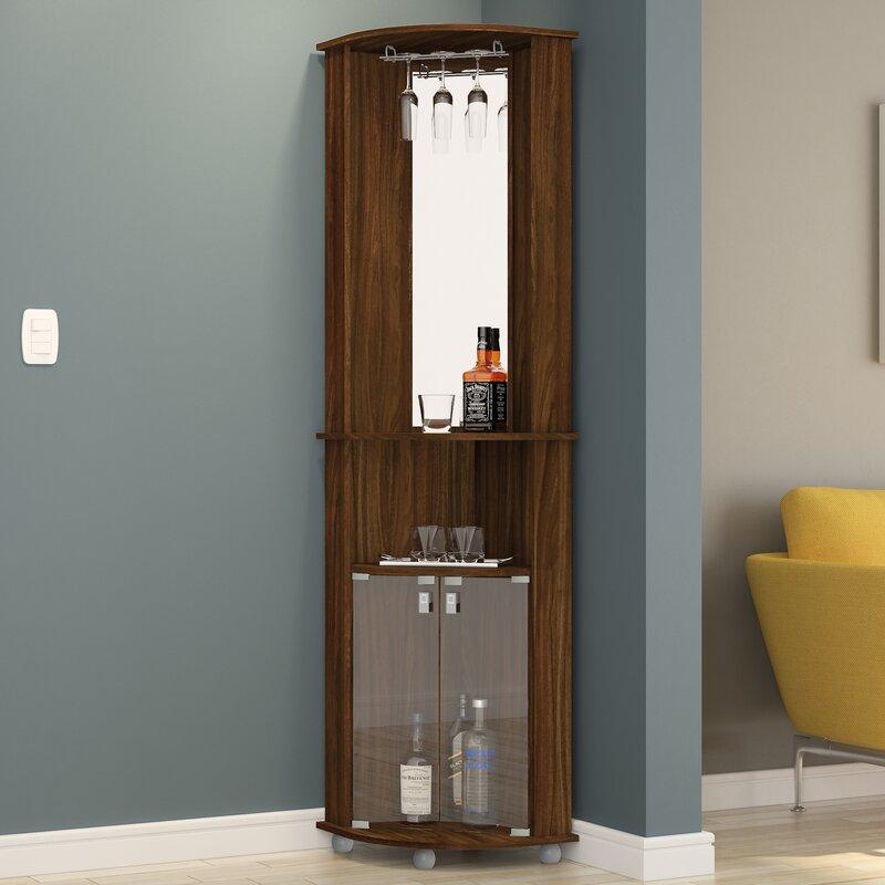 Boahaus Corner Bar Cabinet with Mirrored Wall & Reviews | Wayfair