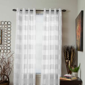 bold striped sheer grommet single curtain panel - Sheer Curtain Panels
