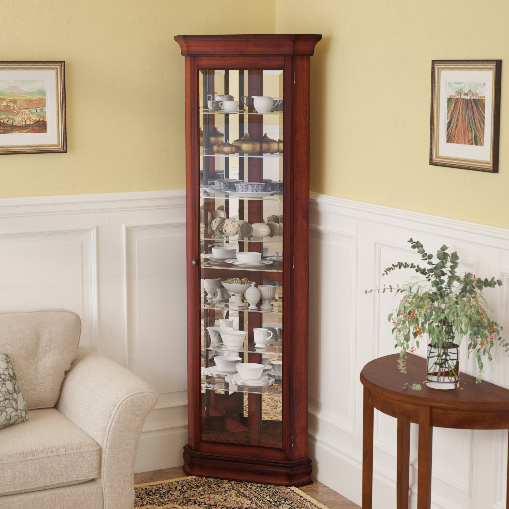 Darby Home Co Nancy Lighted Corner Curio Cabinet & Reviews | Wayfair