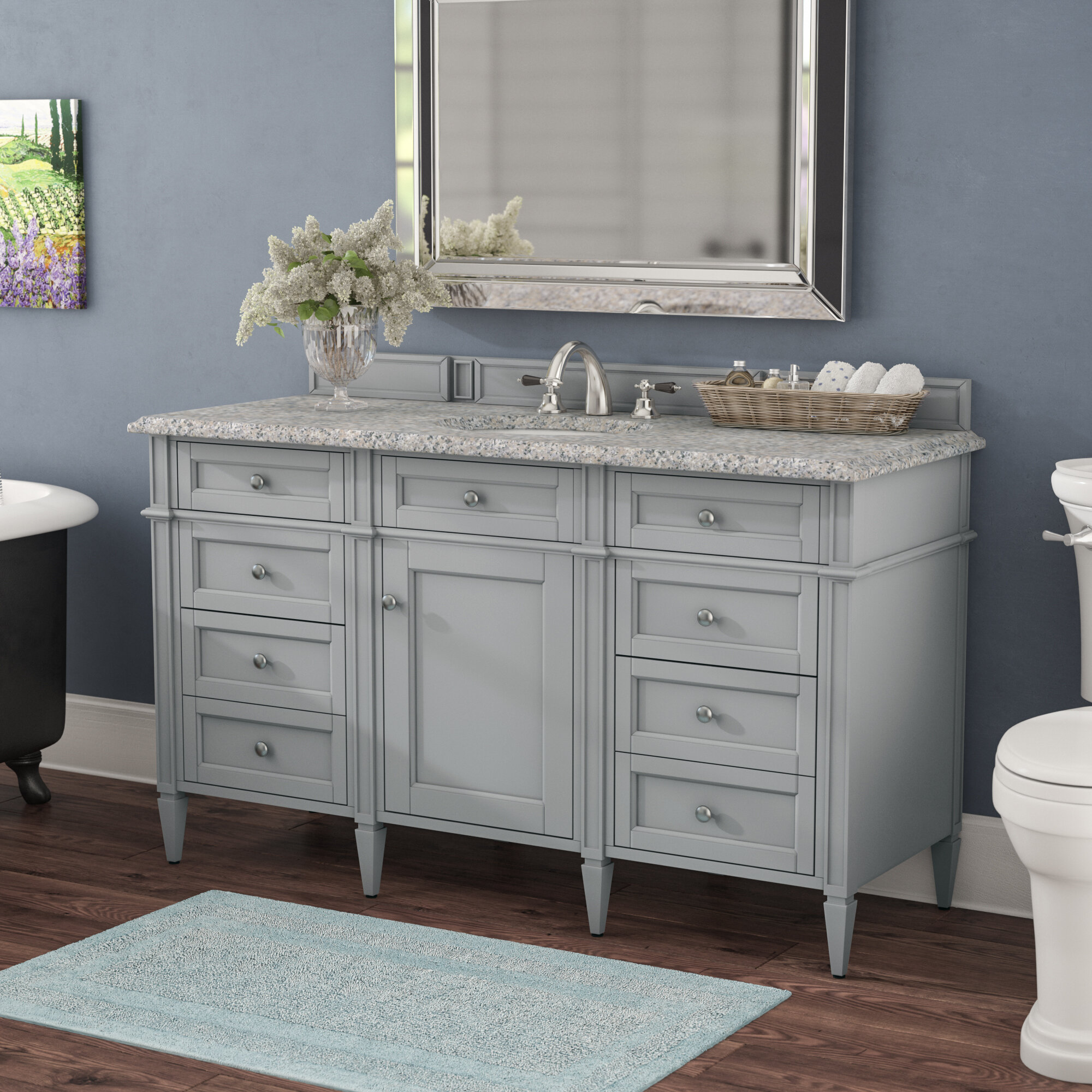 Darby Home Co Deleon 60 Single Urban Gray Stone Top Bathroom Vanity