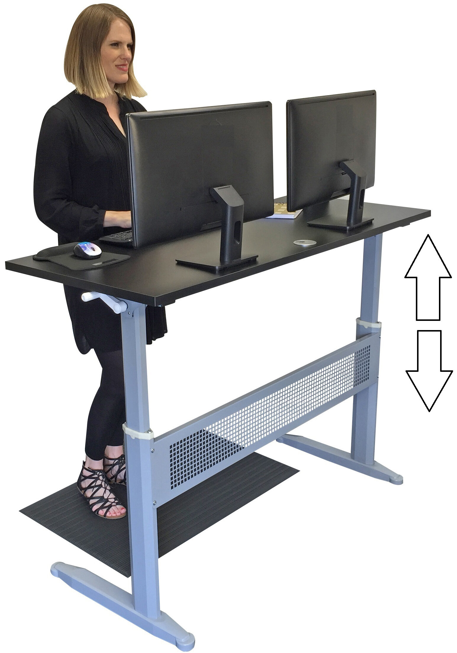stand workstation standing up electric desk raising height adjustable gray