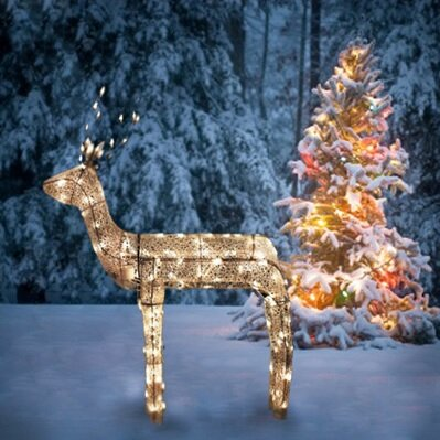 3 d glitter animated standing buck reindeer lighted christmas yard art decoration - Animated Lighted Reindeer Christmas Decoration