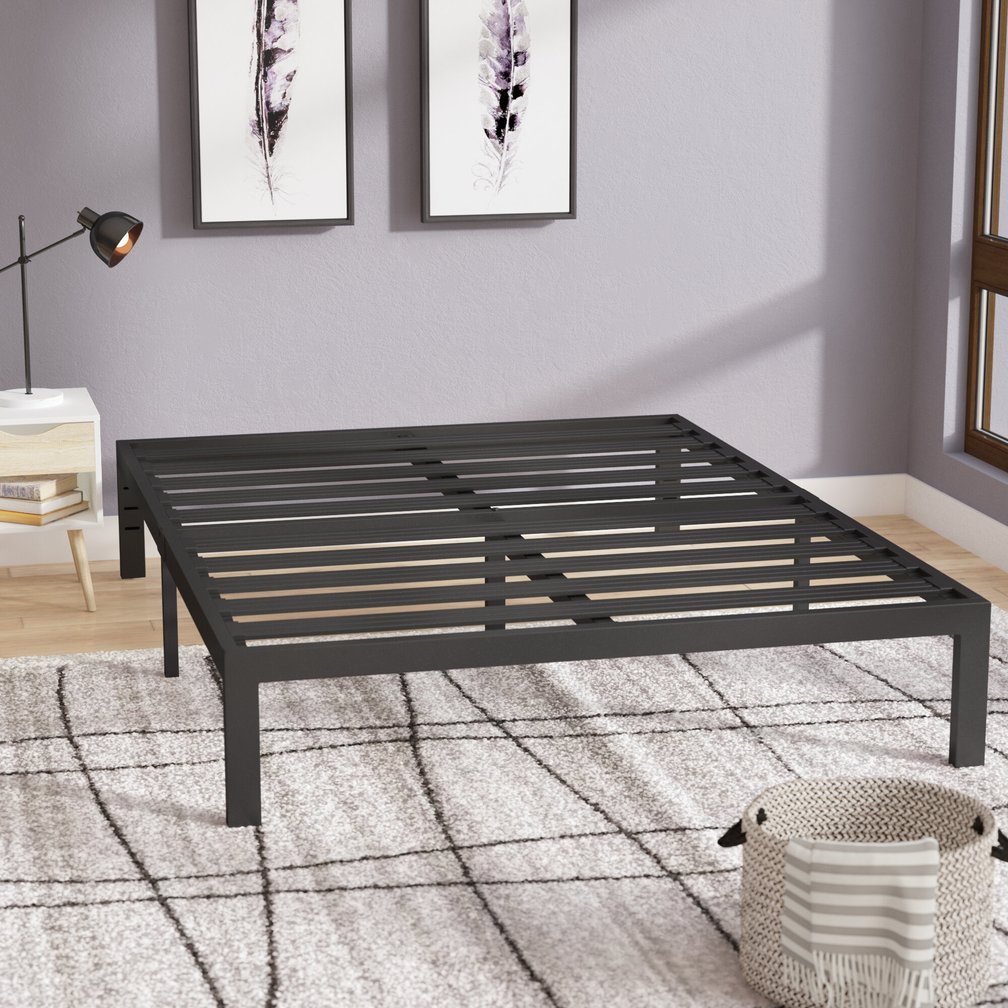 Latitude Run Branson Black Metal Platform Bed Frame Reviews