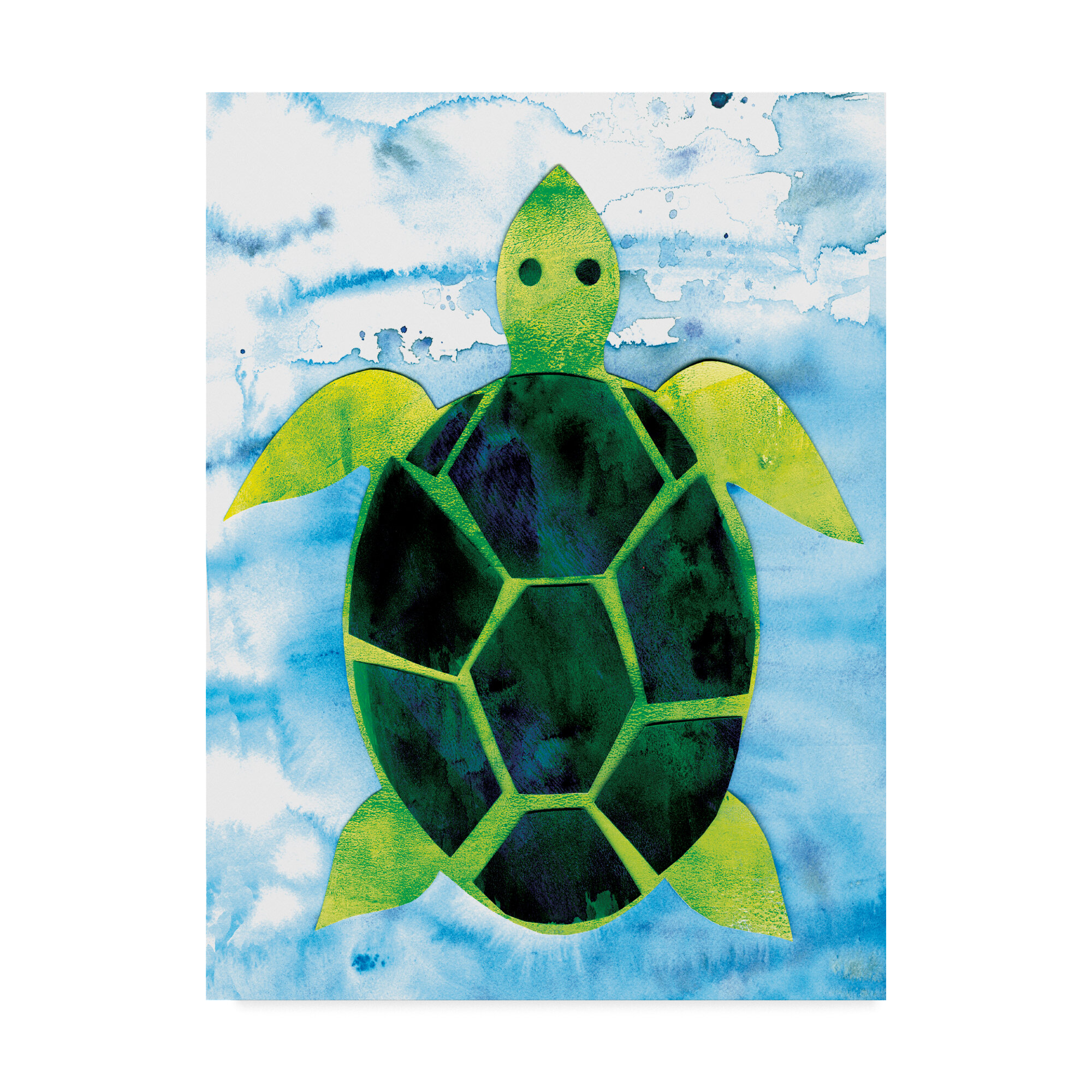 Trademark art sea turtle watercolor painting print on wrapped canvas wayfair