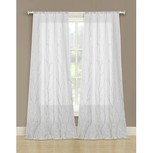 Laura Ashley Vine Embroidered Sheer Curtain Panels Set Of 2