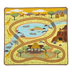 Round the Savanna Safari Yellow Area Rug